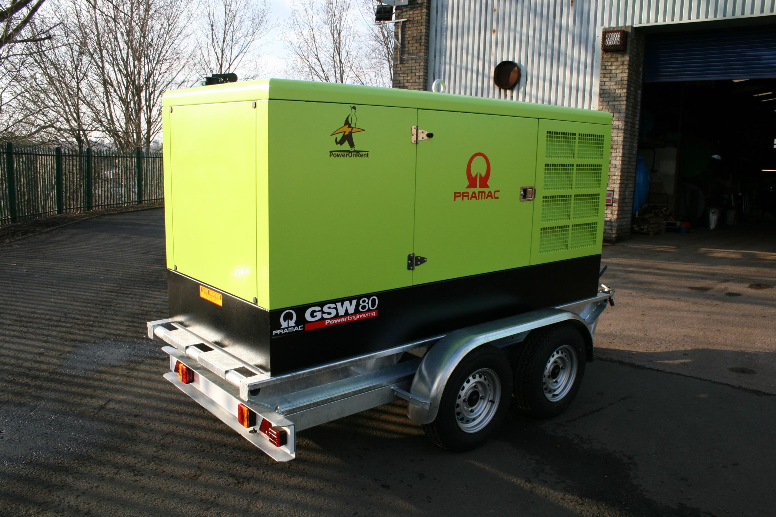 twin axle generator trailer for pramac generator