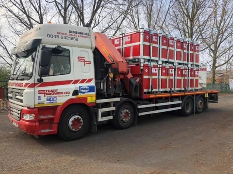 stuart power polycube fuelcube generator on a DAF lorry Fuel Cube Trailer Engineering